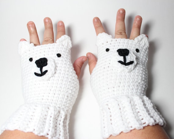 items similar to polar bear fingerless gloves animal. Black Bedroom Furniture Sets. Home Design Ideas