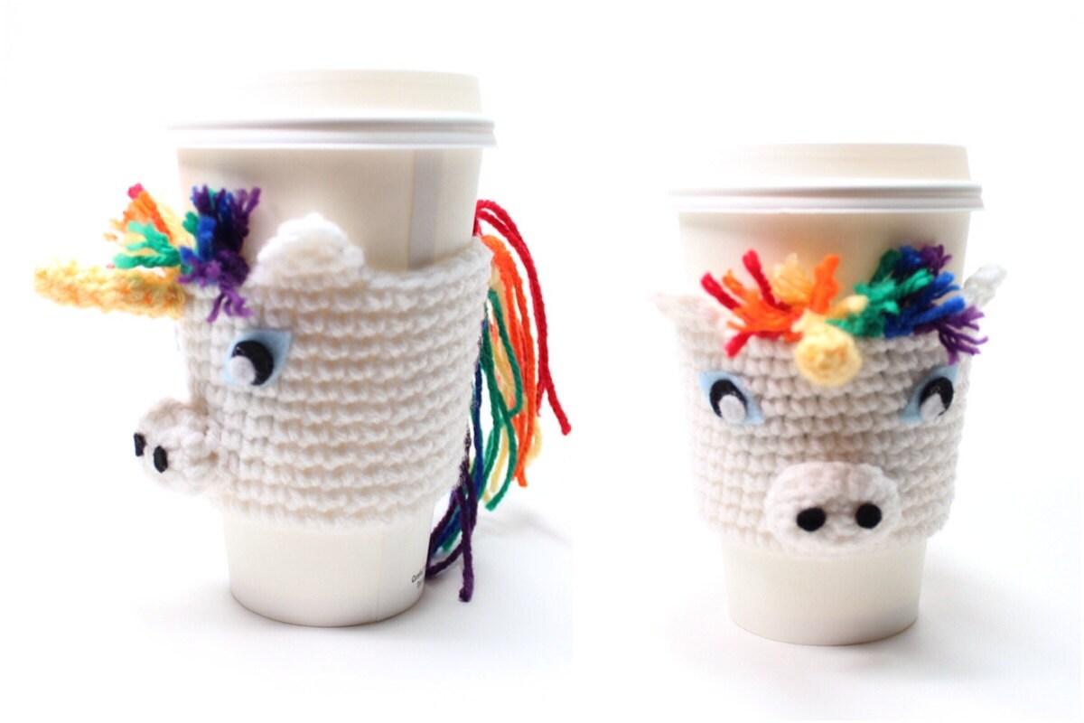 Coffee Cozy Unicorn Crochet Animal Drink Sleeve Java Etsy