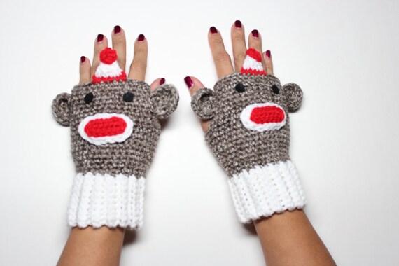 Sock Monkey fingerlose Handschuhe häkeln Affe Handschuhe   Etsy