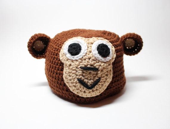 Affen Mütze häkeln Tier Mütze mit Ohren Winter Zubehör | Etsy