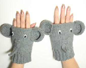Fingerless Glove Elephant, Crochet Animal Mittens, Winter Wrist Warmers, Gray Animal Mitts
