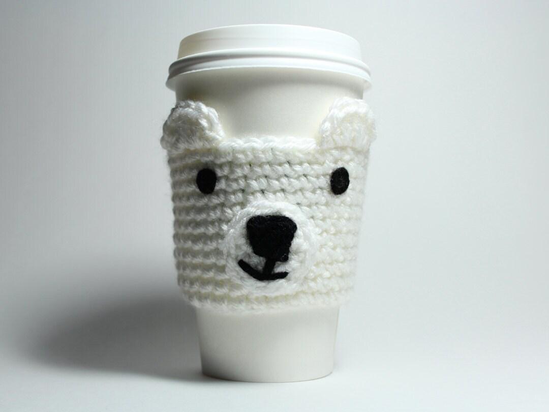 Oso polar ganchillo acogedor café bebida Animal manga puede   Etsy
