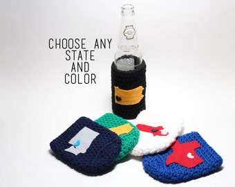 State Beer Cozy, Crochet State Accessories, Can Cozy, Coffee Cozy, Bottle Holder, Drink Holder, Choose your own state cozy!