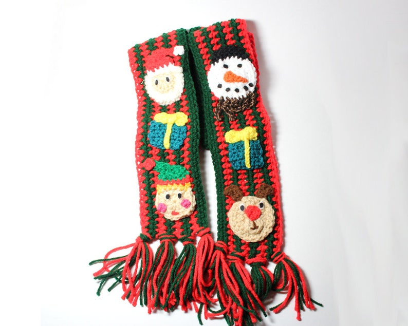 Christmas Scarf.Ugly Christmas Scarf Holiday Crochet Scarf Ugly Christmas Sweater Holiday Unique Scarf