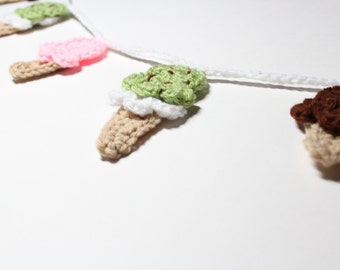Ice Cream Garland, Crochet Bunting, Summer Party Decoration, Kitchen Wall Hanging, Food Home Decor, Nursery Wall Decor