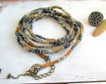 Multiple Wrap Necklace,  wrapped yarn necklace, Fiber fun jewelry, Yarn Wraps belt, Boho stack bracelet, Long Statement Necklace, OOAK, gift