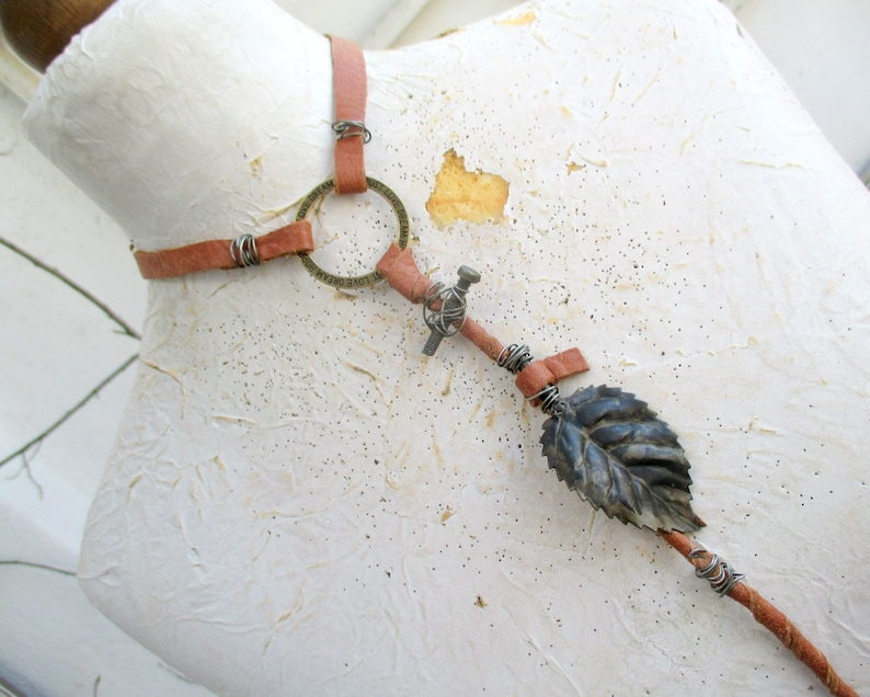 totem necklace leather primitive choker assemblage necklace steampunk choker Statement necklace neckle with leaf tribal necklace