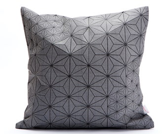 """Grey and Black Geometric Japanese inspired decorative, 15.7x15.7"""". Removable cotton pillow cover, designer throw cushion cover Tamara pillow"""