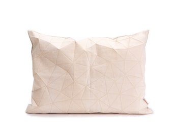 """White and Beige origami throw pillow cover 55x40 cm, 21.6X16 """", Printed geometric cushion cover. Irad pillow"""