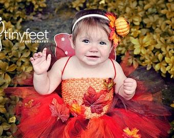 fairy costume fall fairy autumn fairy pumpkin fairy wood nymph pixie faerie dress fall tutu orange tutu dress halloween costume