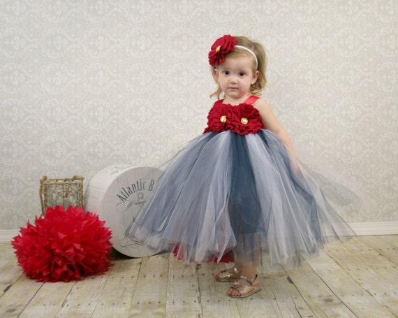Nautical Dress Nautical Wedding Flower Girl Dress Nautical | Etsy