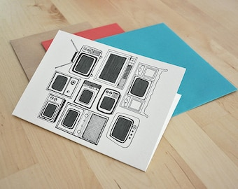 Vintage Television Sets Card 5x7in