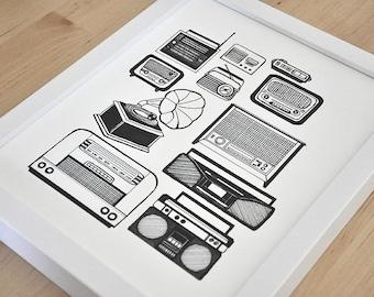 Vintage Radios Print 11x14in