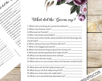 What Did the Groom Say Game Card, Printable, Instant Download - Floral Shower Invite Purple, Plum, Gold _ 1308