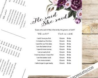 He said she said bridal shower Game Card, Printable, Instant Download - Floral Shower Invite Purple, Plum, Gold Garden Brunch Shower _ 1308