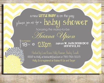 Grey and yellow baby shower invitation gender neutral shabby etsy gender neutral baby shower invitation grey and light yellow chevron digital file printable 1213 filmwisefo