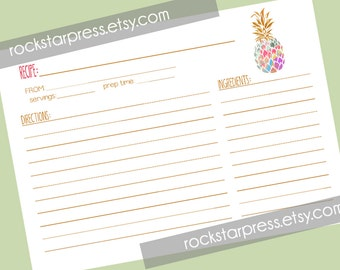 Aloha Pineapple Shower Recipe Card - INSTANT DOWNLOAD _1290