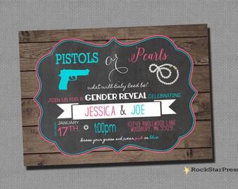 Pistols or Pearls Gender Reveal invitation Rustic unqiue cute gender reveal _1260
