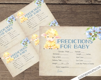 Lamb Baby Shower Predictions for Baby Game Card, Instant Download, Digital file _1318BLUE