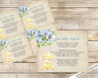 Lamb Baby BOY Bring A Book Baby Shower Insert, INSTANT DOWNLOAD, Digital File, Printable _1318BLUE