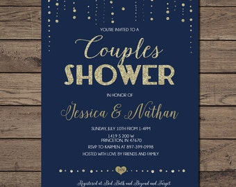Couples Wedding Shower invitation Navy and gold, printable, modern chic shower, digital invite customizable _1229couples