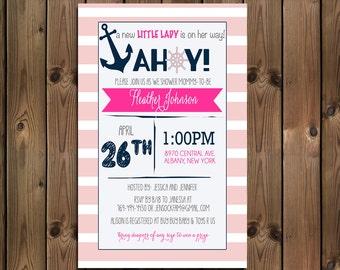Nautical Baby Shower Girl Invitation, Pink Shower Invite _1164