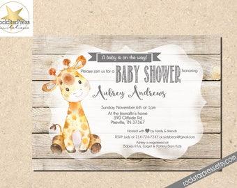 Items similar to giraffe baby shower invitation giraffe giraffe giraffe baby shower invitation gender neutral shower invitation digital file printable 1307 filmwisefo