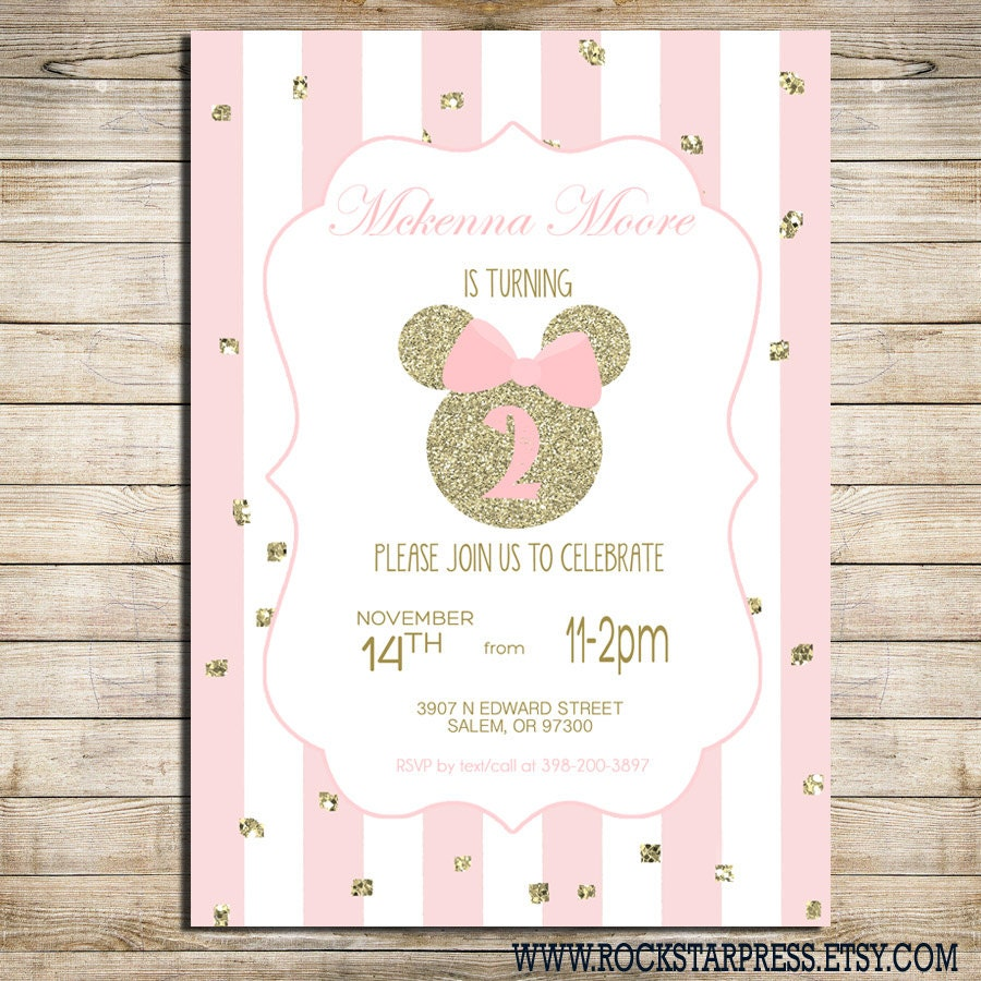 Minnie Mouse Birthday Party Invitation Pink and Gold Classy | Etsy
