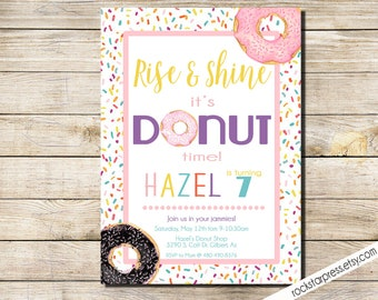 Donut birthday party invitation, Donut and Jammies party invitation _1304.2
