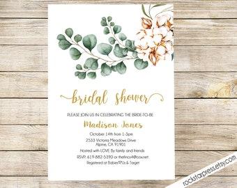Greenery  Bridal Shower Invitation, Greenery Invitation, Boho, Modern, Digital File,  PRINTABLE _1325BRIDAL