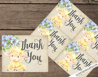 Lamb Boy Baby Shower Thank You Card, Baby Shower, Printable _1318BLUE