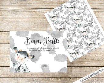 Cow Diaper Raffle Tickets, Digital File, IMMEDIATE DOWNLOAD _1324