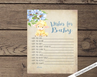 Lamb Wishes for the Baby, Digital File, Printable _1318BLUE