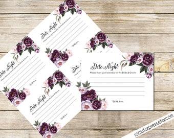 Date Night Card Printable, Instant Download - Floral Shower Invite Purple, Plum, Gold Garden Brunch Shower _ 1308