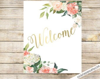 Welcone Floral Bridal Shower Sign 8x10 - Gold, Peach, Coral, Pink, Garden Brunch Shower _ 1309