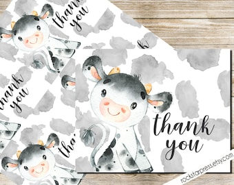 Cow Thank You Card, Baby Shower, Printable _1324