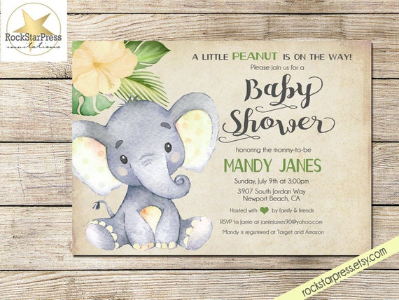 Elephant Neutral Baby Shower Thank You Card Baby Shower Printable /_1302
