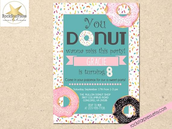 Donut Birthday Invitation Girl Doughnut
