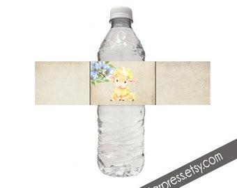 Lamb Baby Shower Water Bottle, Instant Download, Digital file _1318BLUE
