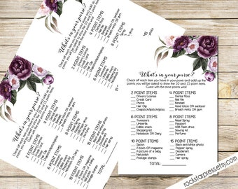 What's in your purse Game Card, Printable, Instant Download - Floral Shower Invite Purple, Plum, Gold Garden Brunch Shower _ 1308