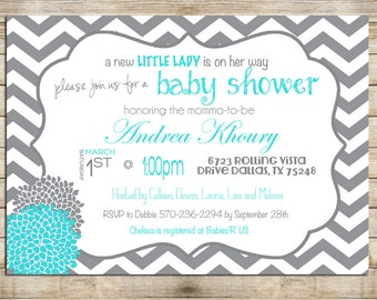 Baby Shower Invitation Turquoise and Grey, Digital File,  PRINTABLE _1212