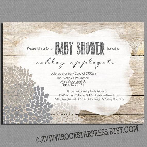 Sexe Neutre Baby Shower Invitation Planche De Bois Douche De Etsy