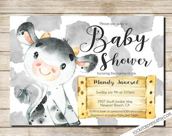 Cow Baby Shower Invitation, Farm animal printable invite, INSTANT DOWNLOAD, Digital File,  PRINTABLE _1324