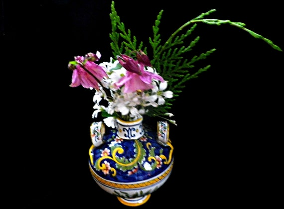French faience two handled polychrome vase or urn in bulbous shape with original labels