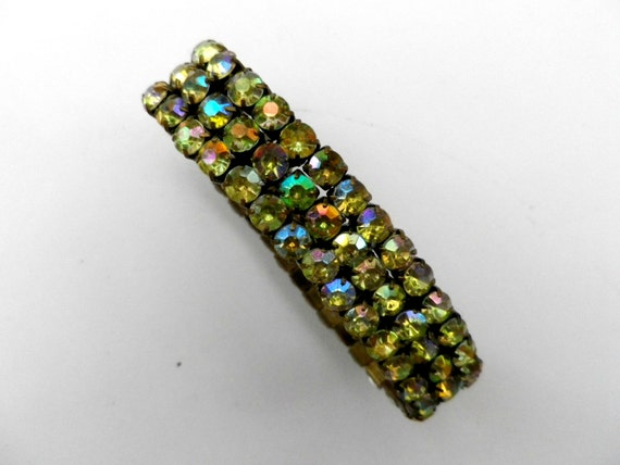 Aurora Borealis crystal stretch tennis bracelet, brass tone metal
