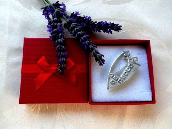 Rennie Mackintosh shield shaped silver brooch by Carrick Jewellery Ltd