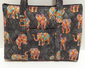 Multicolored Elephants on Black Print Quilted Purse Quilted Handbag