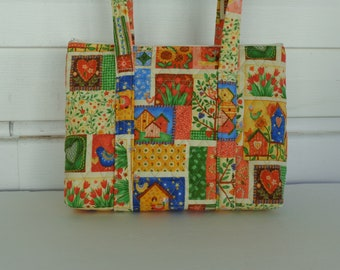 Birdhouses Hearts Sunflowers Patchwork Print Quilted Purse Quilted Handbag