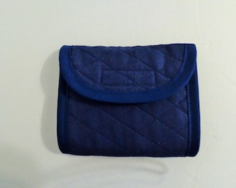 Navy  Tri Fold Quilted Wallet