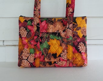 Fall Leaves Pine cones Red Yellow Brown Tan Black Green Leaves Print Quilted Purse Quilted Handbag